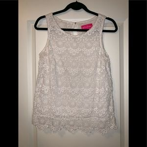 Lily Pulitzer for Target White Sleeveless Lace Top